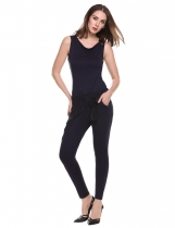 Navy blue Cowl Neck Sleeveless Bandage Solid Slim Pocket Jumpsuit