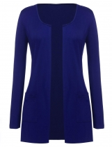 Blue O-Neck Long Sleeve Open Front Loose Thin Cardigan