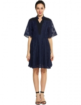 Navy blue New Women Sexy V-Neck Half Flare Sleeve Backless Jacquard Geometric Prints Chiffon Patchwork Pleated Dress