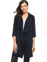 Dark blue Casual Turn Down Collar Lightweigtht Windbreaker Long Sleeve Solid Trench Coat