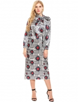 White Long Sleeve Print Bow Tie Loose Maxi Dress