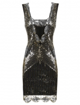 Zeagoo Women's 1920s Style Sleeveless Sequined Gatsby Cocktail Evening Flapper Bodycon Party Dresses