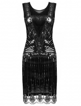 Women's 1920s Style O-Neck Flapper Sleeveless Sequined Gatsby Cocktail Evening Bodycon Party Dresses