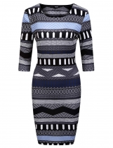 Mix color 3/4 Sleeve Geometric Print Short Dress