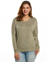 Khaki Long Sleeve Spring And Autumn Round Neck Solid Loose Pullover Sweaters & Cardigans