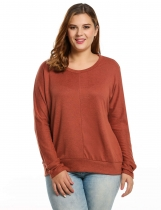 Orange Long Sleeve Spring And Autumn Round Neck Solid Loose Pullover Sweaters & Cardigans