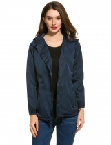 Dark blue Hooded Long Sleeve Solid Poncho Venture Jacket