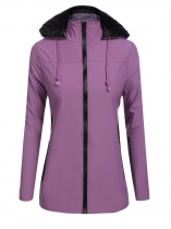 Purple Hooded Long Sleeve Contrast Color Patchwork Waterproof Loose Zipper Jacket