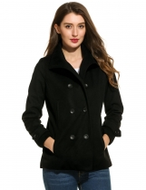 Black Turtleneck Long Sleeve Solid Double Breasted Woolen Coat