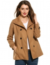Khaki Turtleneck Long Sleeve Solid Double Breasted Woolen Coat