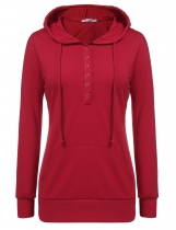Meaneor Red V Neck Solid Pullover Hooded Half Button With Pockets Hoodies & Sweatshirts