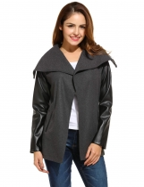 Black Open Stitch Long Synthetic Leather Sleeve Patchwork Jacket