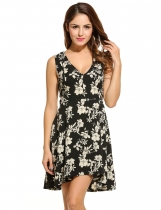 Black Women Sleeveless Floral V Neck Flared Sexy Casual Dresses