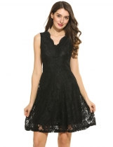 Women Casual Sleeveless Floral Lace V Neck Swing Dress