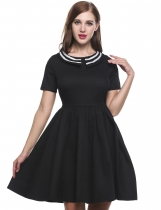 Black Short Sleeve Patchwork Doll Collar Vintage Retro Dinner Casual Dress