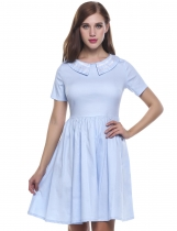 Skyblue Short Sleeve Patchwork Doll Collar Vintage Retro Dinner Casual Dress