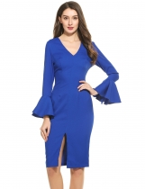 Blue Women Fashion Elegant Slim V-Neck Long Flare Sleeve Solid Bodycon Pencil Dress