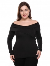 Black Slash Neck Long Sleeve Solid Bodycon Blouse