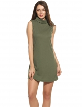 Verde del ejército Women Casual Turtleneck Sleeveless Solid Loose Knit Tank Pullover Elastic Straight Dress