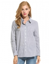 Black Striped Button Front Down Collar Shirts & Blouses