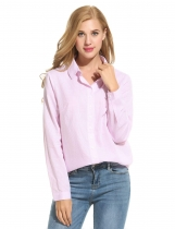 Pink Striped Button Front Down Collar Shirts & Blouses
