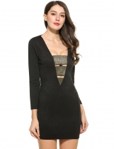 Black New Women Sexy V-Neck à manches longues Shimmer Elastic Band Patchwork Hollow Out Slim Dress