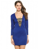 Blue New Women Sexy V-Neck Long Sleeve Shimmer Elastic Band Patchwork Hollow Out Slim Dress