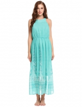Green Ženy Casual rukávů Tisk O Neck Pullover Party flowy Maxi Dress
