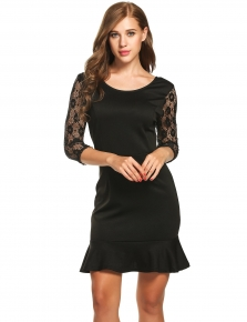 e7623e5f3eb Black Hollow Out Lace Patchwork Ruffled Hem Dress
