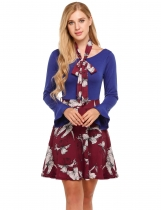 Blue black Women Flare à manches longues Floral Patchwork Belted A-Line Robe courte