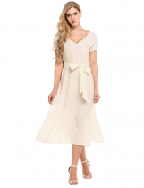 Beige Women Elegant Loose V-Neck Short Sleeve Solid Party A-Line Dress with Belt