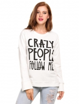 White O-Neck Long Sleeve Letter Print Slit Pullover Sweatshirt