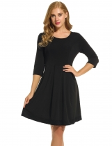 Meaneor Black Women O-Neck 3/4 Sleeve Lace Trim Slim Cocktail Party Pleated Casual Dresses