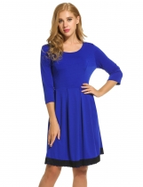 Meaneor Blue Women O-Neck 3/4 Sleeve Lace Trim Slim Cocktail Party Pleated Casual Dresses