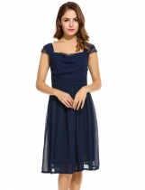 Women Casual Chiffon Sleeveless Patchwork Square Neck Pleated A-Line Dress