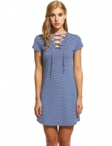 Skyblue New Women V-Neck Lace-up Short Sleeve Striped Casual Dresses