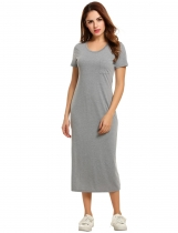 Meaneor Gray Women O-Neck Short Sleeve Solid Side Slit Slim Maxi Long Casual Dresses