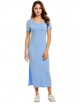 Meaneor Sky blue Women O-Neck Short Sleeve Solid Side Slit Slim Maxi Long Casual Dresses