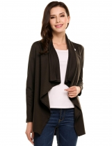 Dark brown Oblique Collar Long Sleeve Solid Asymmetrical Hem Elastic Knit Cardigan