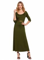 Army green Half Sleeve Patchwork Maxi Dress