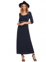 Navy blue Half Sleeve Patchwork Maxi Dress