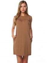 Coffee Sleeveless Solid Side Pockets O Neck Straight Dress