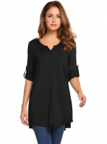 Black 3/4 Sleeve Solid Notched Neck Split Tunic Tops