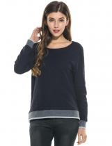 Dark blue Pleated Side Split Backless O-Neck Long Sleeve Patchwork Loose Pullover T-Shirt