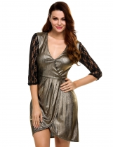 Gold V-Neck Front Cross Asymmetrical Hem Lace Patchwork Party Dress