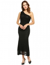Women Casual Sleeveless Solid One Shoulder Zip-up Maxi Dress