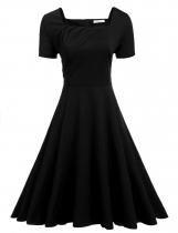 Black Short Sleeve Large Swing Solid Slim Pleated Dress