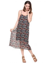 Black Spaghetti Strap Floral Backless Chiffon Dress