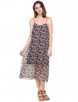Spaghetti sangle Floral Print dos nu mousseline occasionnel robe taille bleue marines femmes Plus