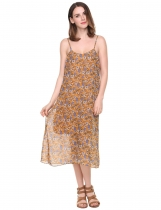 Yellow Spaghetti Strap Floral Backless Chiffon Dress